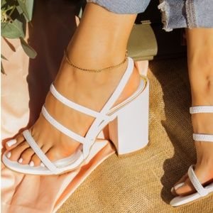 Shoes - ! RESTOCKED ! Strappy Block Heel Sandals in White